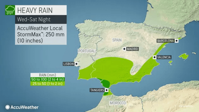 Is there rain, snow, and ice on the Iberian Peninsula?